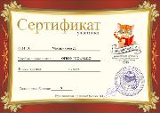 Образец сертификата участника конкурса